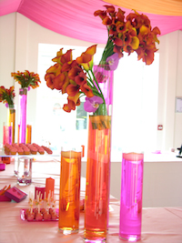 Pink orange wedding flowers