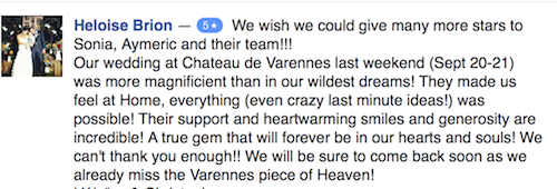 Chateau de Varennes destination wedding testimonial