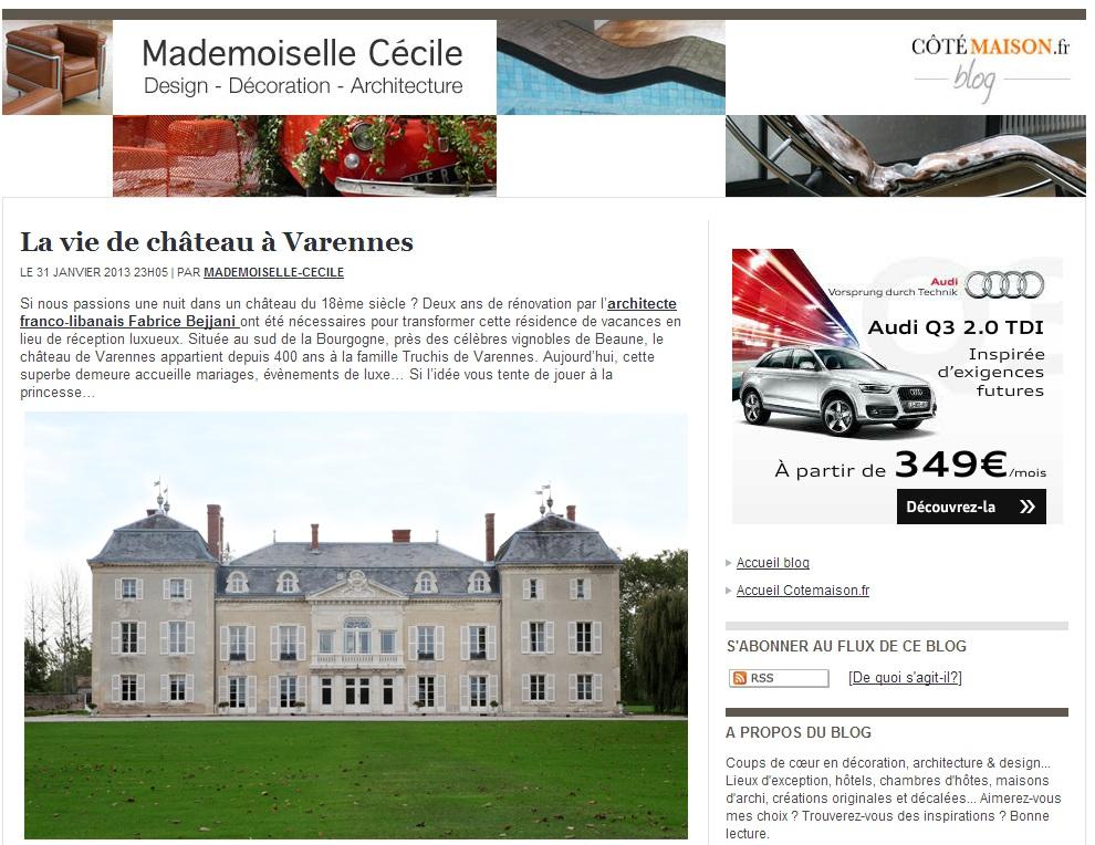 Article Cotemaison2_chateau de varennes