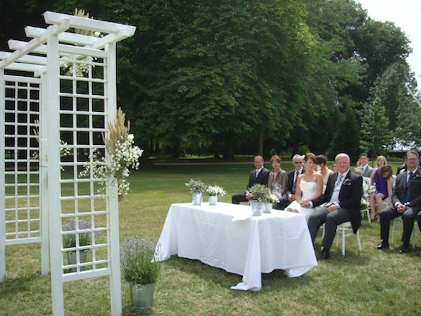 outdoor ceremony with arch_provence theme wedding_Annika_598x449