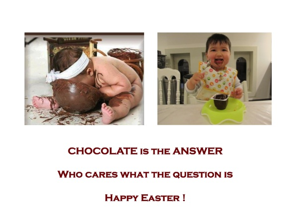 happy easter with chocolate baby